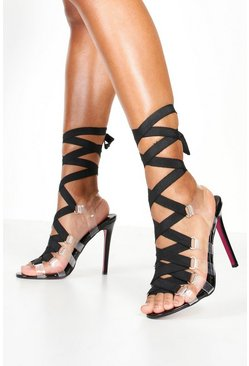 Womens Black Clear Side Ribbon Tie Up Heels