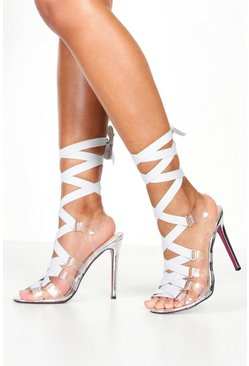 Womens Grey Clear Side Ribbon Tie Up Heels