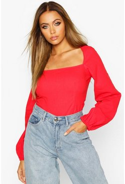Womens Red Woven Square Neck Oversized Sleeve Top