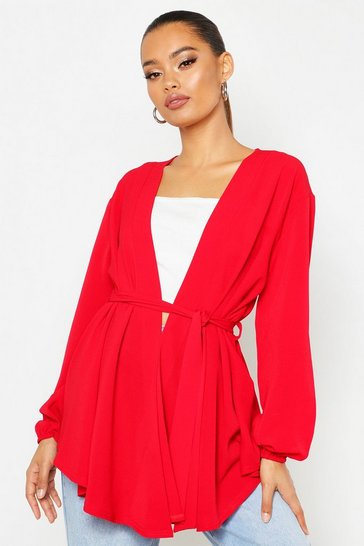 Womens Red Woven Wrap Top