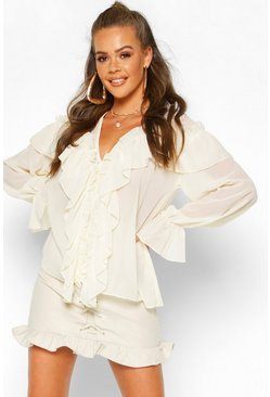 Womens Ivory Woven Ruffle Detail Blouse
