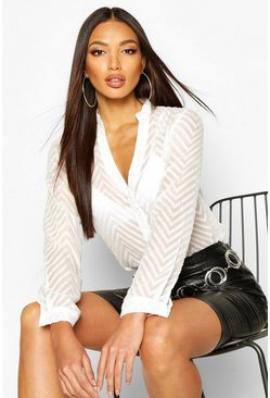 Womens White Striped Sheer Button Through Blouse