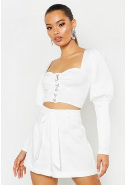 Corset Detail Puff Sleeve Crop Top, White, Donna
