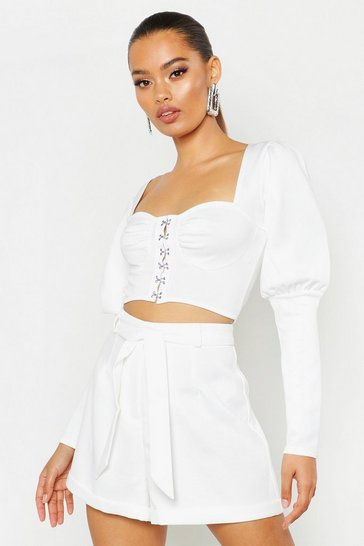Womens White Corset Detail Puff Sleeve Crop Top
