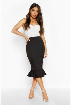 Womens Black Peplum Hem Midi Skirt