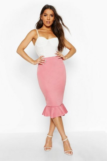 Womens Rose Peplum Hem Midi Skirt