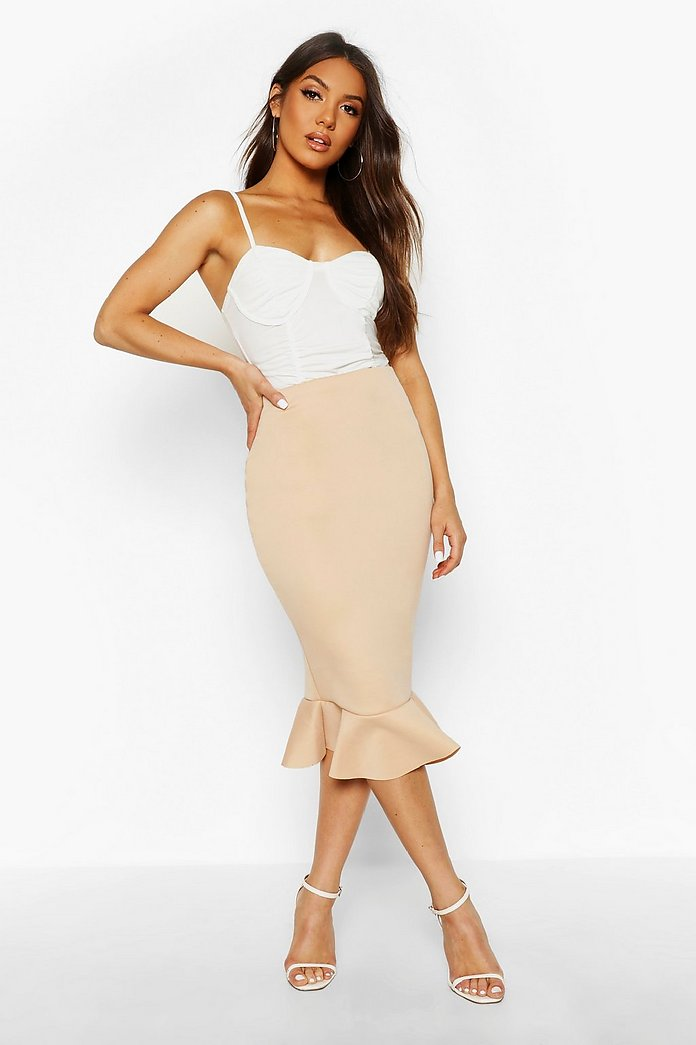 Picture Of With midi skirt and beige high heels