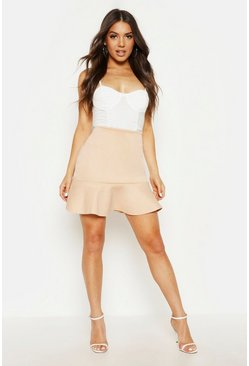 Womens Sand Peplum Hem Mini Skirt