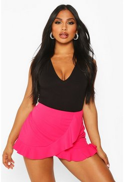 Womens Hot pink Ruffle Wrap Skort