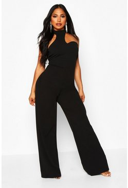 Womens Black High Neck Asymetrical Jumpsuit
