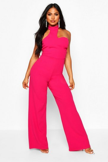 Womens Hot pink High Neck Asymetrical Jumpsuit