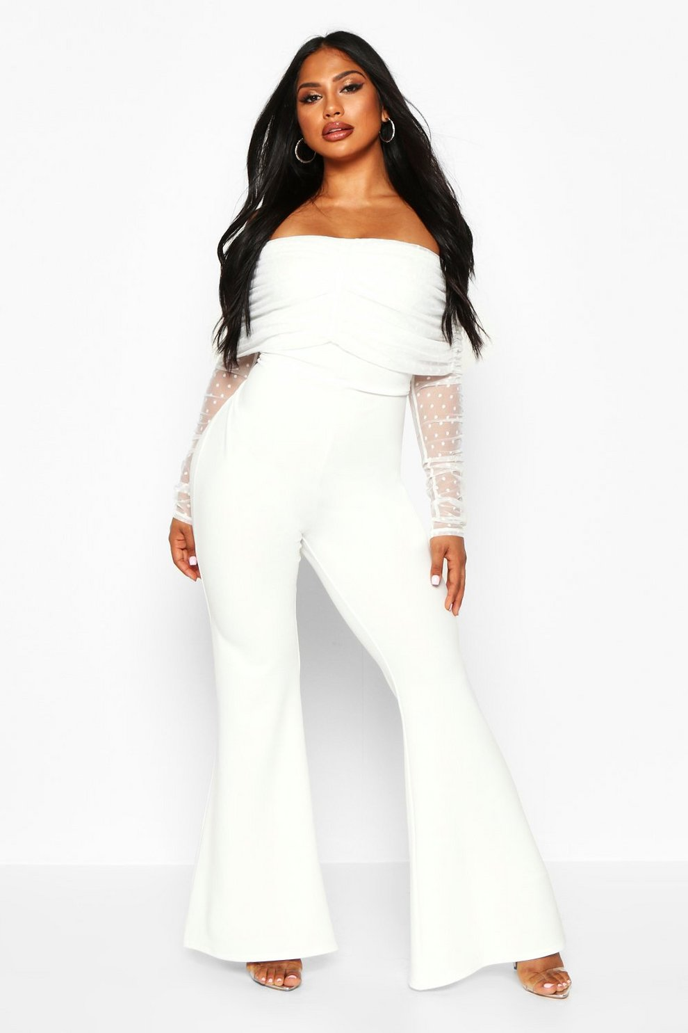 7554db03df2f2 Womens White Dobby Mesh Rouched Jumpsuit