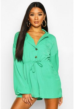 Green Button Drawstring Playsuit