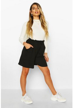Womens Black Woven Drawstring Shorts