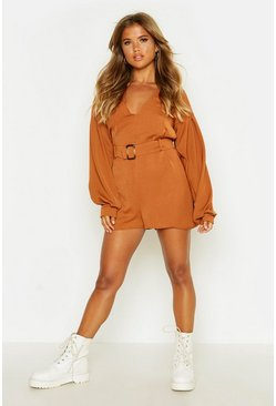Womens Tobacco V Neck Sleeve Belted Playsuit