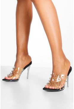 Dam Black Studded Clear Stiletto Mules