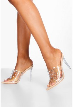 Womens Nude Studded Clear Stiletto Mules