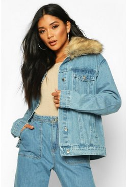 Womens Mid blue Faux Fur Collar Denim Jacket