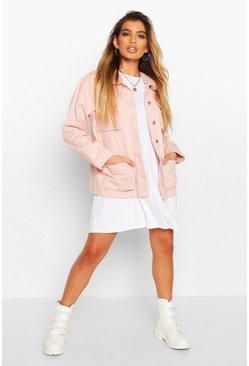 Pink Borg Collar Utility Denim Jacket
