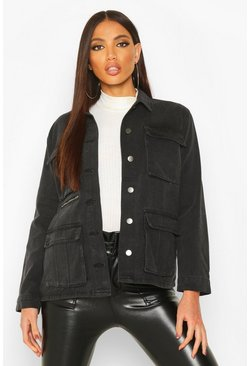 Womens Black Utility Pocket Zip Detail Denim Jacket