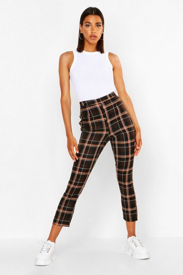 Womens Chocolate Check Tailored Tapered Trouser