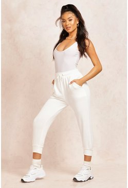 Womens Ivory The Cropped Loopback Jogger
