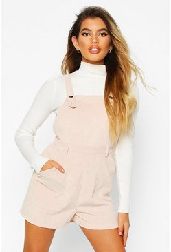 Womens Stone Cord Pinafore Playsuit