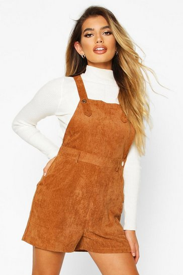 Womens Tan Cord Pinafore Playsuit