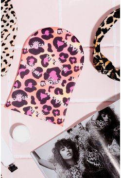 Womens Pink Velvotan Self Tan Applicator Body Mitt Leopard