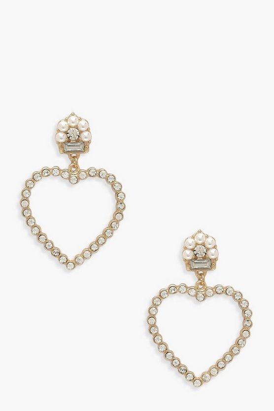Pearl & Diamante Heart Statement Earrings