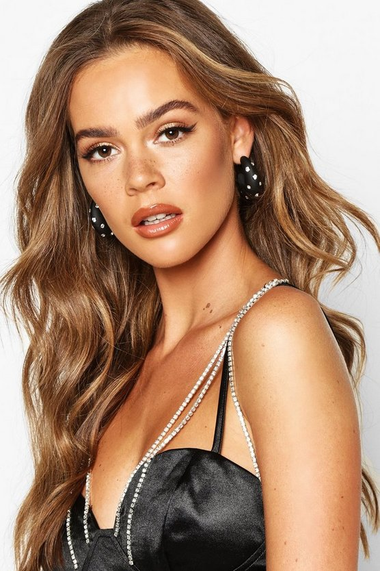 Diamante Studded Matte Hoop Earrings