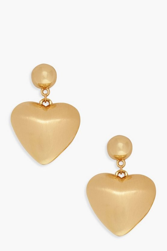 Brushed Metal Chunky Heart Earrings