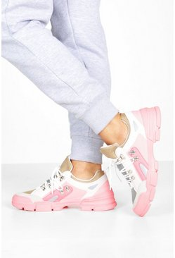 Pink Lace Up Colourblock Hiker Trainers