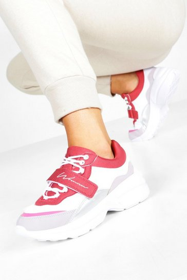 Red Chunky Woman Trainers