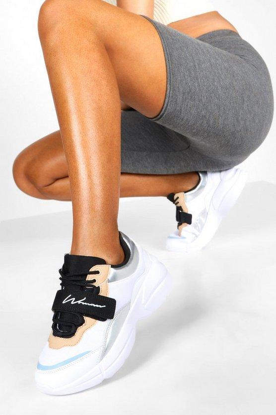 Woman Slogan Velcro Strap Chunky Trainers