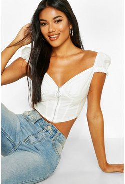Womens White Zip Front Peasant Crop Top