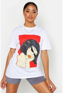 T-Shirt mit Face Graphic Slogan, Weiß, Damen