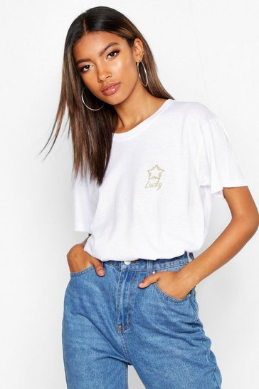 Womens White Lucky Star Pocket Print T-Shirt
