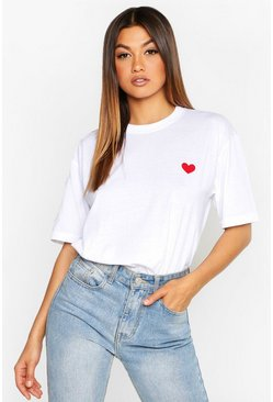 Womens White Heart Embroidered T-Shirt