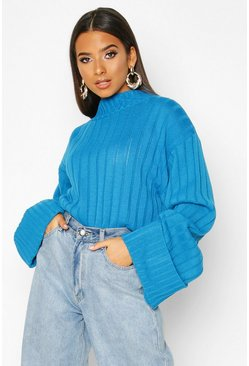 Womens Blue Maxi Wide Sleeve Wide Rib Jumper