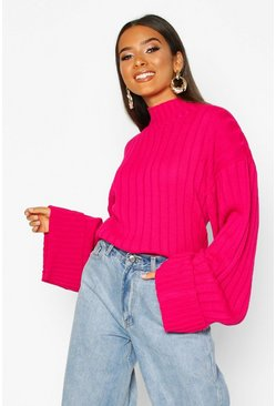 Maxi Wide Sleeve Wide Rib Jumper, Hot pink, Donna