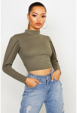Khaki Puff Sleeve Crop Sweatshirt