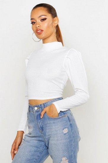 d7f0e214a2 Puff Sleeve Crop Sweatshirt