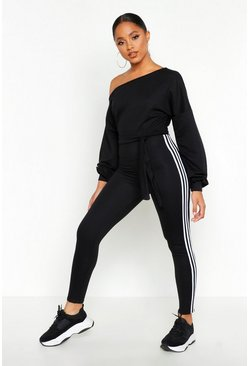 Black Slash Neck Side Stripe Jumpsuit