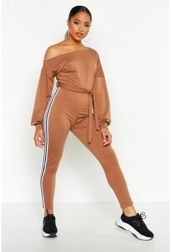 Camel Slash Neck Side Stripe Jumpsuit