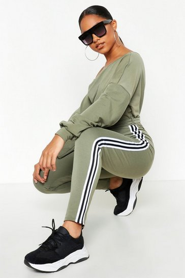 Womens Khaki Slash Neck Side Stripe Jumpsuit