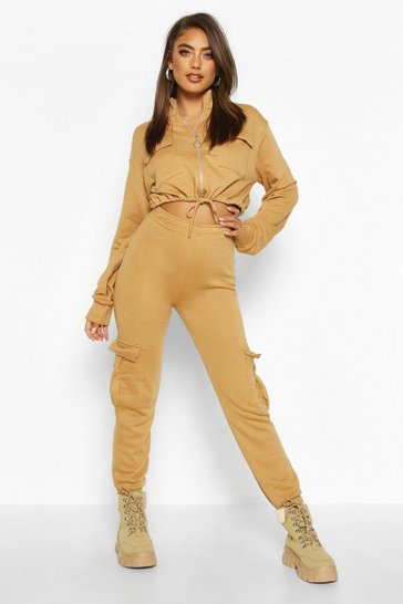 Womens Biscuit Utility Zip Through Cropped Pocket Detail Tracksuit
