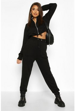 Womens Black Utility Zip Through Cropped Pocket Detail Tracksuit