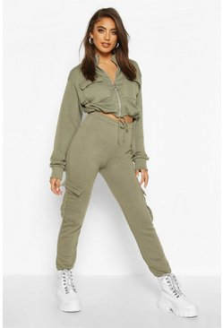 Washed khaki Utility Zip Through Cropped Pocket Detail Tracksuit
