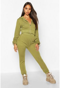 Olive Ruched Sleeve Zip Through Crop Tracksuit